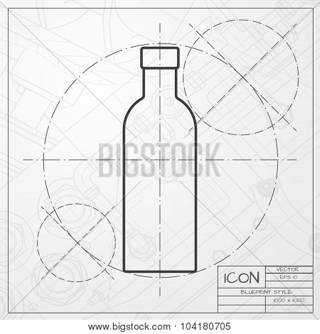 Vector color flat olive oil bottle