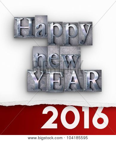 3D rendering of the words Happy New Year in  vintage typescript and 2016 written under a torn paper