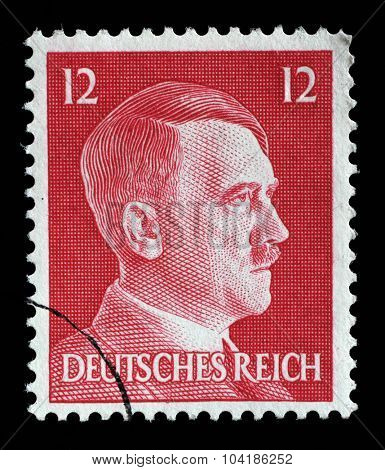GERMAN REICH - CIRCA 1942: A stamp printed in Germany shows image of Adolf Hitler, series, 1942
