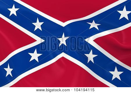 Waving Flag Of The Confederacy - 3D Render Of The Confederate Flag With Silky Texture