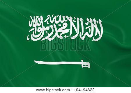 Waving Flag Of Saudi Arabia - 3D Render Of The Saudi Arabian Flag With Silky Texture