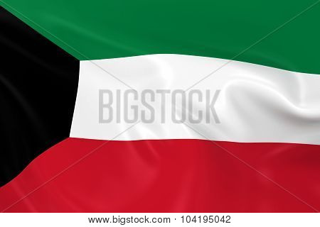 Waving Flag Of Kuwait - 3D Render Of The Kuwaiti Flag With Silky Texture