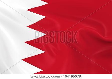 Waving Flag Of Bahrain - 3D Render Of The Bahraini Flag With Silky Texture