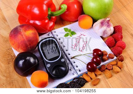 Fresh fruits vegetables and glucose meter on notebook for writing notes concept of healthy nutrition diet and diabetes sugar level poster