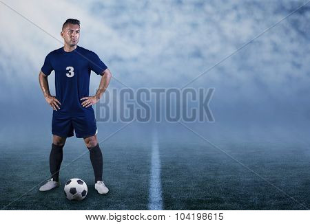 Professional Hispanic Soccer Player on the field ready to play