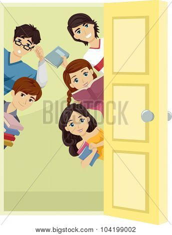 Illustration of a Group of Teenage Students Carrying Study Materials Peeking from Behind a Door