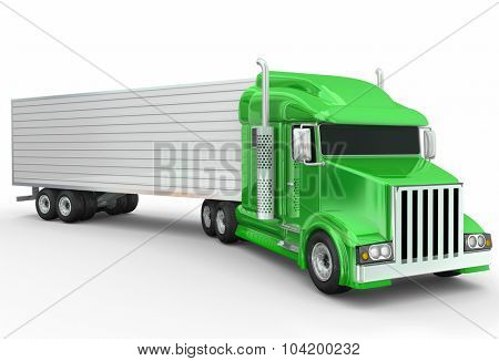 A green generic 3d illustrated semi trailer truck for transporting or carrying goods over the road