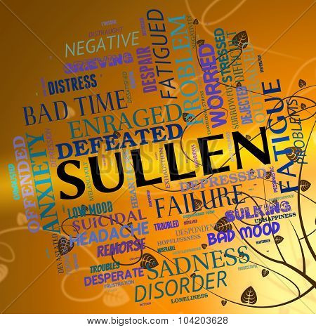 Sullen Word Represents Bad Tempered And Angry