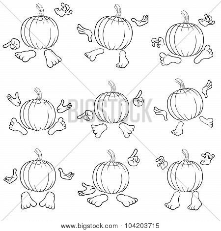 Outlines Of Funny Pumpkins View From The Back