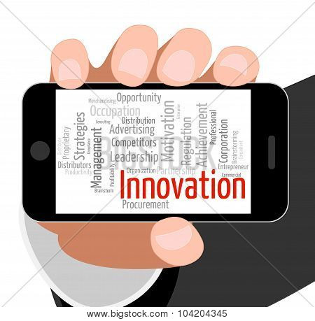 Innovation Word Indicates New Idea And Improve