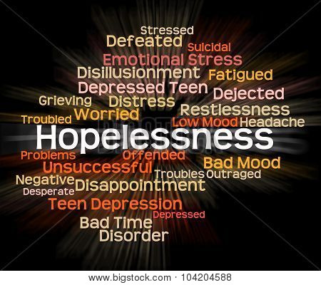 Hopelessness Word Shows In Despair And Demoralized