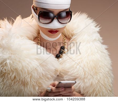 Woman in bandage
