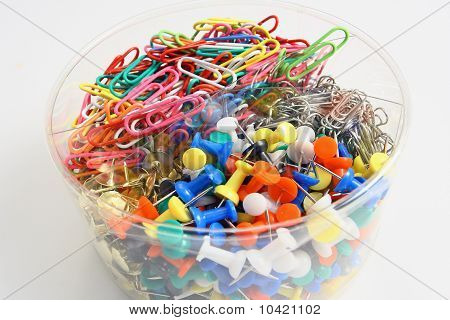 metal paperclips and ofice equipment