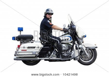 Police Motorcycle Cop Isolated