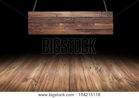 Wood table with hanging wooden sign
