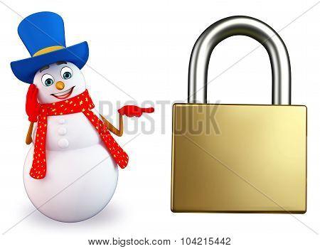Cartoon Snowman With Lock