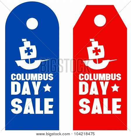 Happy Columbus Day promotion sale red blue