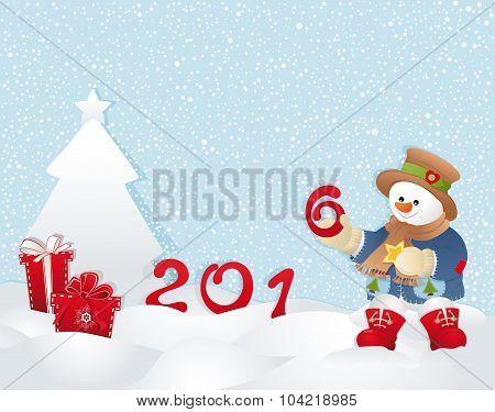 Christmas Card, Snowman And Tree.eps