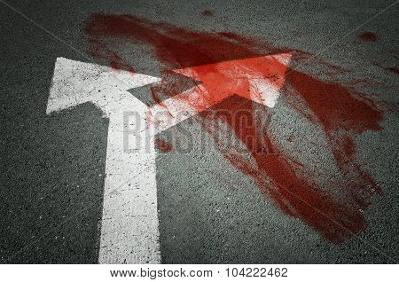 Conceptual Image Of A Blood On The Street Pavement. Concept Of Violence.