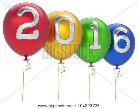 New Years Eve 2016 party balloons Christmas decoration happy wintertime traditional Marry Xmas celebrate adornment multicolored poster