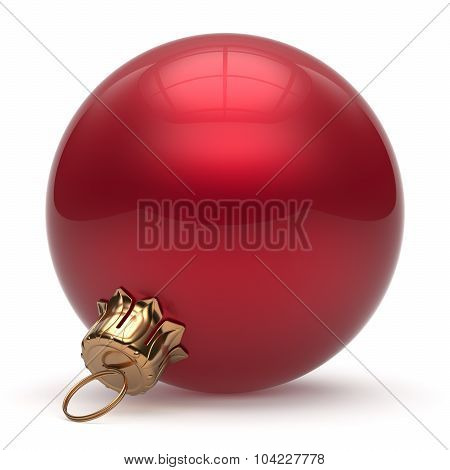 Christmas ball New Year's Eve bauble wintertime decoration red sphere hanging adornment classic. Traditional winter ornament happy holidays Merry Xmas event symbol glossy blank. 3d render isolated poster