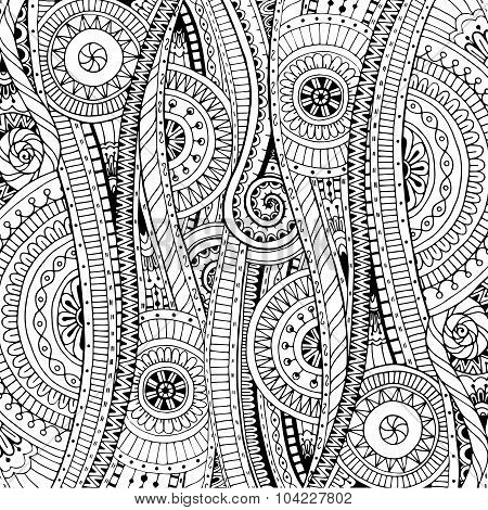 Doodle background in vector with doodles, flowers and paisley.  Black and white.