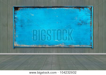 Old Blank Blue Weathered Noticeboard
