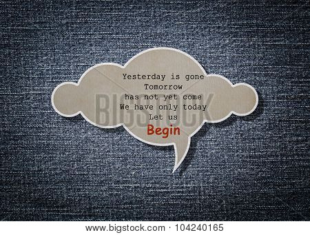 Meaningful Quote On Paper Cloud With Denim Background