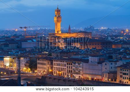 citiscape with Palazzo Vecchio illuminated at night, Florence,  Tuscany, Italy poster