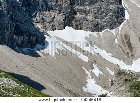 Permanent snow field and screed below a steep rocky alpine peak in a scenic close up landscape view