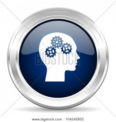 head cirle glossy dark blue web icon on white background