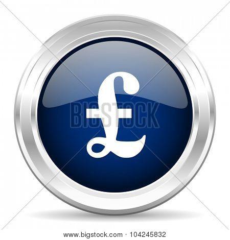 pound cirle glossy dark blue web icon on white background