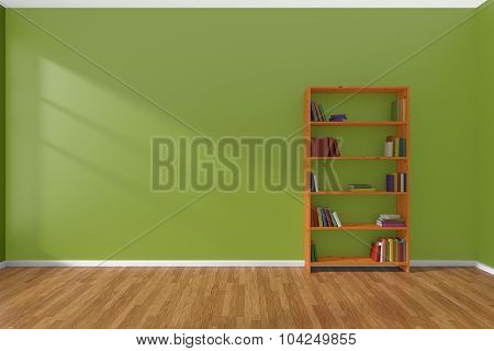Minimalist Interior Of Empty Green Room With Bookcase