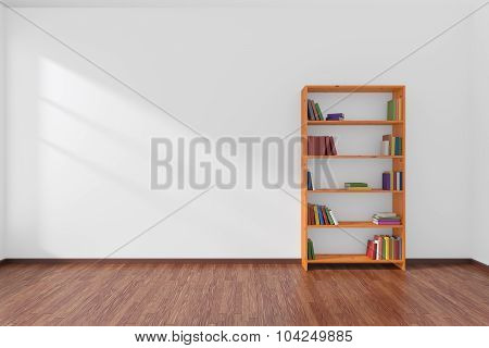 Minimalist Interior Of Empty White Room With Bookcase.