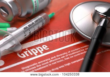 Diagnosis - Grippe. Medical Concept.