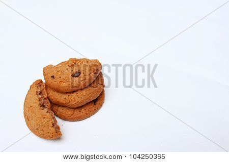 Chocolate Chip Cookies On Background Of White.