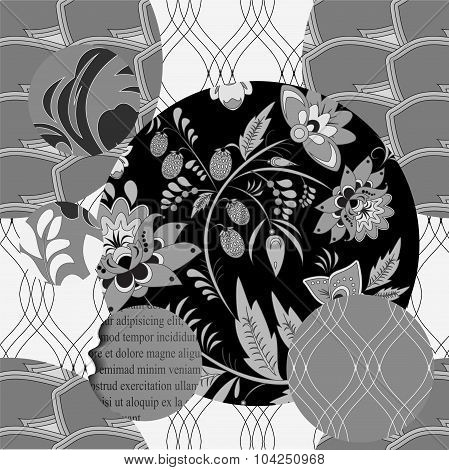 Russian Seamless Black And White Patchwork Pattern With Flowers - Stock Vector