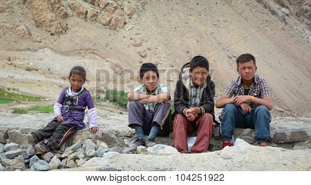 Group Of Tibetan Chidren Sitting Together
