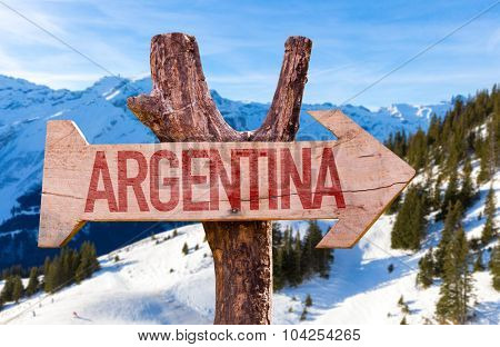 Argentina wooden sign with winter background