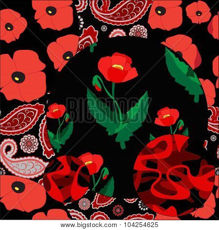 Seamless Patchwork Pattern With Flowers - Stock Vector