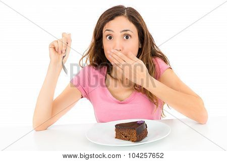 Diet Woman Get Caught While Eating Cake