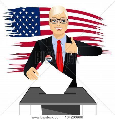 blonde businessman putting ballot in vote box