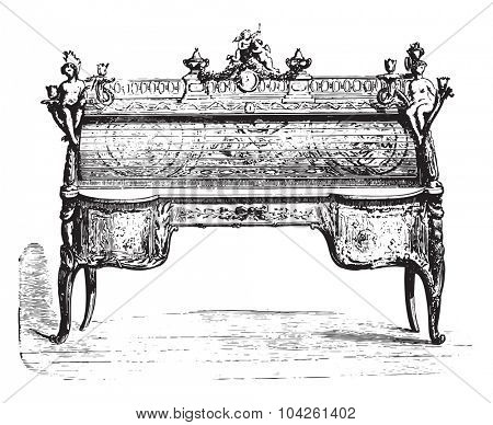 Office cylinder inlaid Louis XV (Louvre), vintage engraved illustration. Industrial encyclopedia E.-O. Lami - 1875.