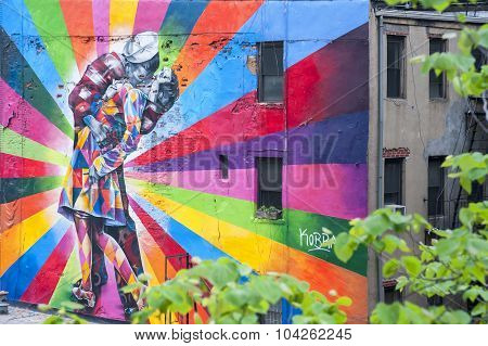 A Mural On The Wall In New York, Ny