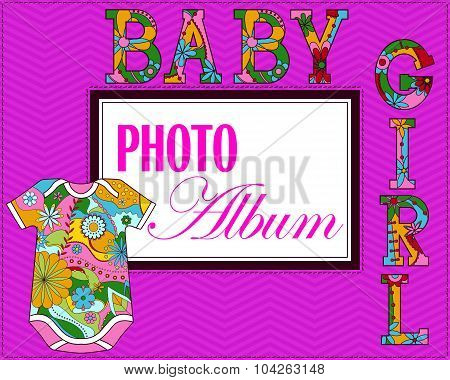 Vector baby photo album cover for girls