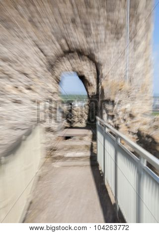 Focus effect, Rochester Castle 12th-century. Castle and ruins of fortifications. Ken