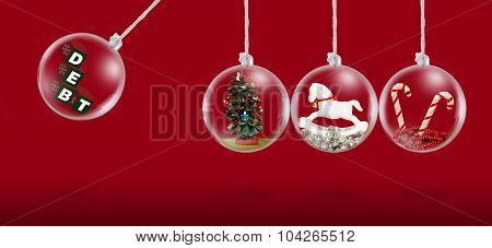 Concept depicting debt at Christmas time