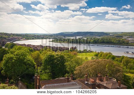 ROCHESTER, UK - MAY 16, 2015: Landscape around of Rochester city  include river Kent and yacht club