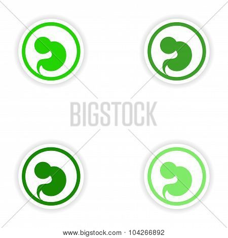 Set paper stickers on white background embryo in the womb