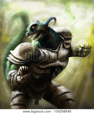 A Lizard Warrion Wearing A Steel Armor